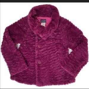 Patagonia Pelage Girls Jacket Magenta Faux Fur 10M